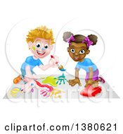 Poster, Art Print Of Cartoon Happy White Boy Kneeling And Painting Artwork And A Black Girl Playing With A Toy Car