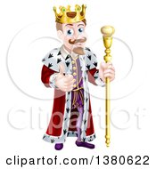 Clipart Of A Happy Brunette White King Giving A Thumb Up And Holding A Gold Staff Royalty Free Vector Illustration