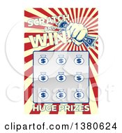 Clipart Of A Lottery Instant Scratch And Win Scratchcard With A Fist Holding Cash And Rays Royalty Free Vector Illustration by AtStockIllustration