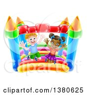 Clipart Of A Cartoon Happy White Boy And Black Girl Jumping On A Bouncy House Castle Royalty Free Vector Illustration by AtStockIllustration