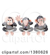 Clipart Of Black And Tan Three Wise Monkeys Covering Their Ears Eyes And Mouth Hear No Evil See No Evil Speak No Evil Royalty Free Vector Illustration by AtStockIllustration