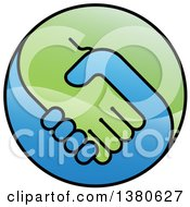 Clipart Of A Blue And Green Handshake Globe Royalty Free Vector Illustration