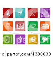 Clipart Of Christian Icons Over Colorful Tiles Royalty Free Vector Illustration by AtStockIllustration