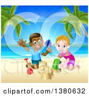 Clipart Of A Happy White Girl And Black Boy Playing And Making Sand Castles On A Tropical Beach Royalty Free Vector Illustration by AtStockIllustration