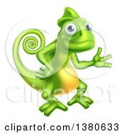 Clipart Of A Happy Green Chameleon Lizard Presenting Royalty Free Vector Illustration by AtStockIllustration