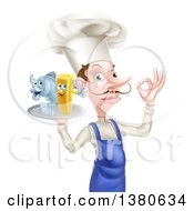 White Male Chef With A Curling Mustache Gesturing Ok And Holding A Fish And Chips On A Tray