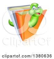 Clipart Of A Happy Bespectacled Green Earthworm Emerging From Books Royalty Free Vector Illustration