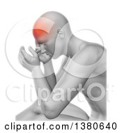 3d Anatomical Man With A Glowing Headache On A White Background