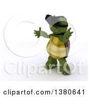 Clipart Of A 3d Tortoise Wearing Virtual Reality Goggles On A White Background Royalty Free Illustration