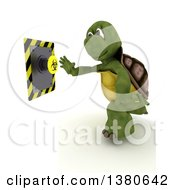 Clipart Of A 3d Tortoise Pushing A Biohazard Button On A White Background Royalty Free Illustration