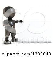 3d Black Man Presenting A Blank Sign On A White Background
