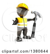 Clipart Of A 3d Black Man Worker Presenting With A Hammer On A White Background Royalty Free Illustration by KJ Pargeter