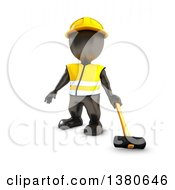 Clipart Of A 3d Black Man Construction Worker Holding A Sledgehammer On A White Background Royalty Free Illustration by KJ Pargeter