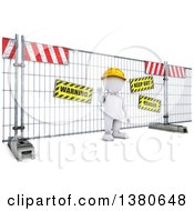 Clipart Of A 3d White Man At A Construction Barrier On A White Background Royalty Free Illustration