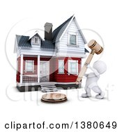 Clipart Of A 3d White Man Auctioneer Banging A Gavel In Front Of A Home On A White Background Royalty Free Illustration by KJ Pargeter