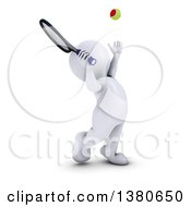 Clipart Of A 3d White Man Playing Tennis On A White Background Royalty Free Illustration by KJ Pargeter