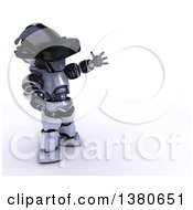 Clipart Of A 3d Silver Robot Wearing A Virtual Reality Headset On A White Background Royalty Free Illustration