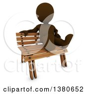 Clipart Of A 3d Brown Man Sitting On A Bench On A White Background Royalty Free Illustration
