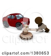 3d Brown Man Auctioning A Car On A White Background