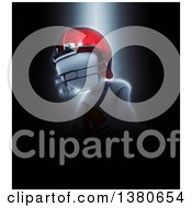 Clipart Of A 3d White Man Football Player In A Dramatic Pose Over Black Royalty Free Illustration