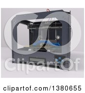 Clipart Of A 3d Printer Creating An Artificial Spine On A White Background Royalty Free Illustration