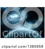 Clipart Of A 3d Fictional Planet Spiral Nebula And Stars Royalty Free Illustration