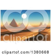 Clipart Of A 3d Desert Landscape With Ancient Pyramids Royalty Free Illustration