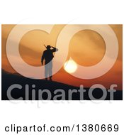 Clipart Of A 3d Silhouetted Soldier Saluting Against A Sunset Royalty Free Illustration by KJ Pargeter