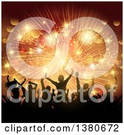 Clipart Of A Background Of Silhouetted Dancers Over A Golden Burst Of Lights Royalty Free Vector Illustration