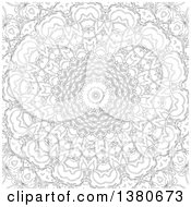 Clipart Of A Black And White Adult Coloring Page Design Royalty Free Vector Illustration