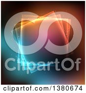 Clipart Of A Background Of Layered Glowing Squares Over Colors Royalty Free Vector Illustration