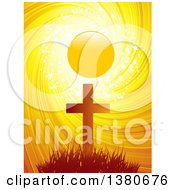 Clipart Of A Silhouetted Easter Cross Against A Sunset With Sparkles Stars And A Swirl Royalty Free Vector Illustration