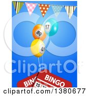 3d Bunting Banner Over Bingo Ball Balloons And Cards On Blue