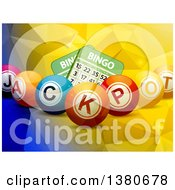 3d Jackpot Bingo Balls Over Cards And A Geometric Background