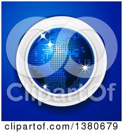 Clipart Of A 3d Disco Ball Earth Globe Over A Blue Background Royalty Free Vector Illustration by elaineitalia