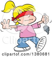 Cartoon Clipart Of A Blindfolded Blond White Girl Playing Pin The Tale On The Donkey At A Party Royalty Free Vector Illustration by Johnny Sajem