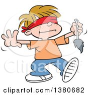Cartoon Clipart Of A Blindfolded Blond White Boy Playing Pin The Tale On The Donkey At A Party Royalty Free Vector Illustration by Johnny Sajem