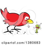 Cartoon Clipart Of A Hungry Early Red Bird Drooling And Eyeing A Scared Worm Royalty Free Vector Illustration