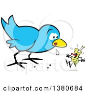 Cartoon Clipart Of A Hungry Early Blue Bird Drooling And Eyeing A Scared Bug Royalty Free Vector Illustration