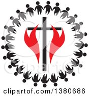 Clipart Of A Black And White Unity Circle Of People Holding Hands Around A Cross With Red Flames Royalty Free Vector Illustration