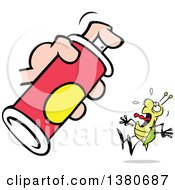Cartoon Clipart Of A Scared Bug Screaming Under A Bottle Of Spray Royalty Free Vector Illustration