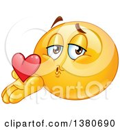 Clipart Of A Cartoon Yellow Smiley Face Emoji Blowing A Kiss Royalty Free Vector Illustration