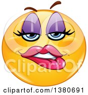 Clipart Of A Cartoon Female Yellow Smiley Face Emoji Biting Her Lip Royalty Free Vector Illustration