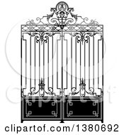 Vintage Black And White Ornate Wrought Iron Gate