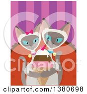 Clipart Of A Romantic Siamese Cat Couple Sharing An Ice Cream Cone Royalty Free Vector Illustration by Maria Bell