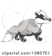 Clipart Of A Cute Honey Badger Walking Royalty Free Vector Illustration by Alex Bannykh