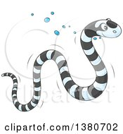 Clipart Of A Cute Black And White Striped Sea Snake Swimming Royalty Free Vector Illustration by Alex Bannykh