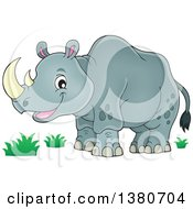 Clipart Of A Happy Rhinceros Royalty Free Vector Illustration