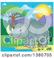 Clipart Of A Happy Rhinceros By A Watering Hole Royalty Free Vector Illustration by visekart