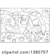 Clipart Of A Black And White Lineart Horse In A Barnyard Royalty Free Vector Illustration